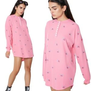 Lazy Oaf Rose Waffle Thermal Long Sleeve Top